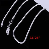 Wholesale Pretty Sale - 1MM 16-24inch 925 Sterling Silver Plated cute pretty Smooth Snake Chain Necklace jewelry hot sale Fit pendant