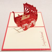 Wholesale 3d Greeting Cards Supplies - 130mmx160mm Baby shower Carriage Cards For Celebrate Handmade Creative 3D Pop UP Birthday Greeting Gift Cards Party Supplies Free Shipping