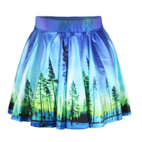 Wholesale Denim Skirts For Women - sexy summer skirt for women 2015 fashion skirts womens pleated 3D Digital Forest skirts Galaxy Space Printed Skirt Saia