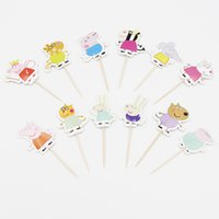 Wholesale Wholesale Price Cake Toppers - Wholesale- 24PCS Cute Pig Toppers Picks Cupcake Topper For Kids Birthday Party&Cake Baking Party Decoration By Best Price