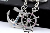 Wholesale Key Chains Steering Wheel - Anchor Steering Wheel Couple Keychain Creative Fashion Key Chain Ring Key Fob Holder 30Pair Lot High Quality