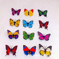 Wholesale butterfly fridge magnets - 2015 Fridge Magnets 100 Pcs Small Size Colorful Three-dimensional Simulation Butterfly Magnet Fridge Home Decoration free shipping