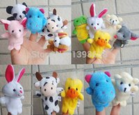 Wholesale Panda Bear Puppet - 10 Cartoon Biological Animal Finger Puppet Plush Toys Child Baby Favor Dolls Hippo eleph,frog,dog,duck,rabit,cow,mice,panda bear