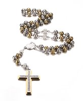 """Wholesale Gold Crystal Rosary - Bling Gold Plated Stainless Steel Two Tone Rosary Chain Necklace with Crystal Zirconia Pave Double Layer Cross Pendant 27""""+7"""""""