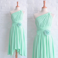 Wholesale Short One Shoulder Mint Dresses - 2015 Mint Bridesmaid Dresses Asymmetrical Neckline Pleats Hand Made Flowers Chiffon Tea Length Maid Of Honor Dresses Dhyz 01