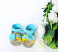 детские сандалии ручной работы оптовых-Крем вязание крючком детские сандалии, ручной вязание крючком девушка обувь с розовым цветком 0-12 м настроить