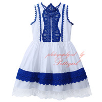 Pettigirl In Stock Patchwork Girls Lace Dress Fashion Kids Vintage Dresses Оптовая торговля одеждой для детей GD81016-109Z