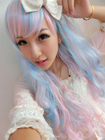 Wholesale Long Curly Japan Wig - The New Design Harajuku WWig Long Curly Hair Cos Animation Wig Japan Harajuku Wig Blue Color Mixing Cosplay Wig.WG18 order<$18no track