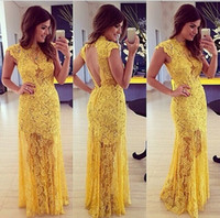 Wholesale Turtle Neck Lace Mermaid Dress - High Neck Yellow Lace Short Sleeve cheap under 50 party dress 2015 See Through Lace Floor Length Open Back Women evening dress