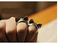 Wholesale cute cat ears ring for sale - Group buy Korea vintage cute animal cat ear personality ring dia cm