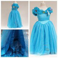 Wholesale princess cinderella costumes online - girls cinderella butterfly dress girls blue princess dress cinderella cosplay costume girls fancy dresses layers
