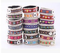costuras tece venda por atacado-Alfândega popular tecido artesanal pulseira 18mm snap acessórios de jóias pulseira Noosa botão snap botão giner botão pulseira pulseira
