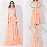 Wholesale Long Sexy Peach Bridesmaid Dresses - $59 Peach Pink Long High Neck Cheap Prom Dresses 2017 Real Image Backless Sheer Long Evening Gowns In Stock Bridesmaid Dresses BZP0530