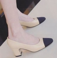 Wholesale Vintage Shoes Sale - sale! b092 black beige 34 40 genuine leather match med block heels c designer pumps shoes work luxury classic vintage