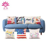 Wholesale American Flag Pillow - muchun Brand LED RGB 5V Light Pillow Case Cute Birds American Flag 45cm*45cm Decorative Fabric Non Woven Sofa Pillow Cover
