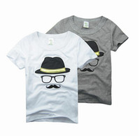 Wholesale kids shirts glasses - Children Baby Boy's short sleeve t shirt Hello Beard hat glasses T-Shirt kids Boys tops