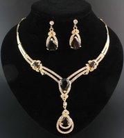 ingrosso collana indiana collare in oro-Hot Crystal Topaz placcato oro giallo collana moda nuziale Zircone cristallo collana di nozze orecchini gioielli da sposa insieme