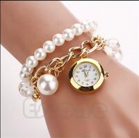 quarz analog uhren korea großhandel-Luxus Korea Faux Perle Strass Kette Armband Armbanduhr Frauen Mädchen Kristall Runden Zifferblatt Analog Quarz Armbanduhren für Weihnachtsgeschenk