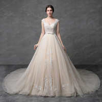 Wholesale Tulle Corset Back Wedding Dress - Hot Sell Champagne Wedding Dress Sleeveless Ball Gown Lace Appliqued Beaded Lace Up Back Illusion Corset High Quality Real Photo