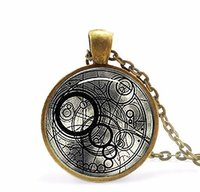 Wholesale Handmade Movies - Wholesale-Steampunk handmade uk movie bomb dr doctor who Necklace 1pcs lot bronze fashion Glass Pendant jewelry mens womens wedding gift