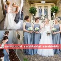Wholesale Dress For Party Reception - 2016 New Dusty Blue Lace Top Bridesmaid Dresses Long Maxi A-Line Bridal Party Gowns For Rustic Weddings Maid of Honor Reception Dinner Wear