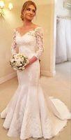 Wholesale Cheap Formals China - 2017 Spring Long Sleeve Mermaid Vintage Women Wedding Dresses Luxury But Cheap China Long Train Importi Formal Wedding Wedding Dresses