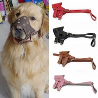 Wholesale Dog Collar Leather Harness - Leather Dog Muzzle M Size Pet Adjustable Dog Muzzle Prevent Bite Dog Mouth Mask