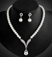 Wholesale Earing Set Crystal - Koran Pearl Jewelry sets Bridal Wedding Accessories Earing and Necklace Women Fashion Jewelry Crystal bridal jewelry sets