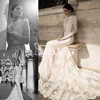 Wholesale inbal dror bridal dresses gowns mermaid for sale - Group buy Inbal Dror Spring Lace Sheer Beach Wedding Dresses Summer High Collar Modest Long Sleeves Vintage High Neck Court Train Bridal Gowns