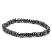 "Wholesale Magnetic Elastic Bracelet - Free Shipping! Magnetic Hematite Beads Elastic Bracelets Gunmetal 20cm long(7 7 8""),3 PCs (B25552)"