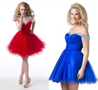 Wholesale Creation 14 - 2015 Sexy Homecoming Dresses Ball Gown Beaded Crystal Black Red Tulle Karishma Creations Knee Length Prom Gowns Off Shoulder