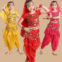 Wholesale India Clothing Costumes - (10set)Christmas Costume perform suits belly dance show suits Girl India dance clothing Belly Dance Costume with veil Bracelet Chain