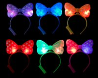 Wholesale Christmas Headbands For Kids - Beautiful Mickey Bow LED head hoop for Children Party Performance Kids' headband Toys LED Flash toys decorations for kids hot seling gift