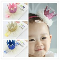 Wholesale Photo Birthday Cards - Mix color kids Baby Lace Crown headbands Photographic props Birthday Gift For Photo hair decor with parper card BA415