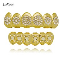 Wholesale Golden Teeth - Lureen Silver Gold Grillz Iced Out Rhinestone Hip Hop Golden CZ teeth set Grillz Cap Top & Bottom Mouth Grills Jewelry
