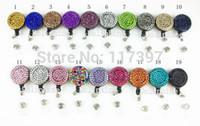 Wholesale Reel Retractable Crystal Badge Holder - Wholesale-Multi-Colored Rhinestone Crystal Retractable ID Badge Reel Holder 10pcs lot