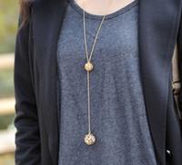 uzun altın topu kolye kolye toptan satış-2016 Kolye Kolye 18 k Altın Kolye Zincirleri Moda Takı Kadın Bayanlar Çift Hollow Topu Kolye Uzun Zincir Püskül Kolye Jewellry