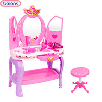 Beiens Marca Giocattoli 19 Pz Bambini Bambini Baby Girl Cute Bella Toy Fashion Makeup Chair Make Up Table Set Dresser Spedizione gratuita