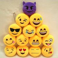 smiley amarillo al por mayor-Llaveros 8 cm Emoji Smiley Pequeño colgante Emoción Amarillo QQ Expresión Peluche Muñeco de peluche de juguete Emoji Correas de la célula Encantos Bolsa colgante regalo