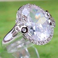 saphirbraut großhandel-2020 Frauen A0067 Bridal Party Schmuck Ringe 18x12mm Strass Oval Cut Clear White Sapphire Gemstone18K Weißgold überzogene Ringgröße 8