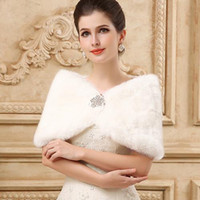 Wholesale Ivory Wedding Cape Shawl - Princess Faux Fur Bridal Shrug Wrap Cape Stole Shawl Bolero Jacket Coat Crystal For Winter Wedding Bride Bridesmaid Dresses Real Image 2015