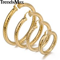 Atacado- Trendsmax Shiny Cut Womens Girls Round Tube Hoop Earrings Amarelo Ouro Filled Snap Closure Fixação GEM11