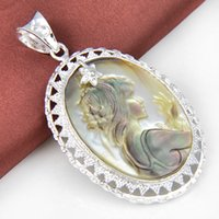 Wholesale Oval Cameo Necklace - Ruby Jewelry Top Quality Luckyshine 5pcs Lot Hot Sale Oval Carved Cameo Shell Gemstone 925 Silver Pendant American Weddings Jewelry Gift