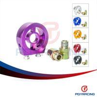 Wholesale Oil Cooler Npt - PQY STORE-M20X1.5 3 4-16 1 8 NPT Aluminum Racing Oil Pressure Gauge Oil Filter Sandwich Adapter PQY6722