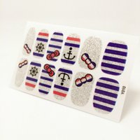 Wholesale Nail Stripes Stickers Design - Wholesale-Nails Art Sticker Purple Stripe Ship Anchor Design Nail Sticker Manicure Decor Tools Cover Nail Wraps Decals