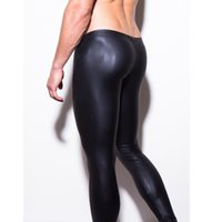Wholesale Mens Black Spandex Pants - Wholesale-mens long pants tight fashion hot black leather men's pants sexy boxer Full Length panties trousers Brand Straight