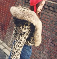 Wholesale Womens Leopard Print Fur Coat - Womens New Faux Fur Hooded Coat With Leopard Print Raccoon Fur Collar Slim Winter Thick Lining Outwear Free Shipping WT110