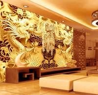 Wholesale Wallpaper Golden - 3D Golden Dragons Photo Wallpaper Woodcut Wall mural Chinese style wallpaper Art Room decor Kids Sofa background wall Restaurant Decoration