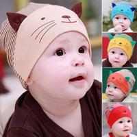 Wholesale Toodler Hats Wholesale - Cute Baby Infant Beanie Cotton Hat Toodler Boys Girls Kids Striped Stripe Cat Cap 5 Colors