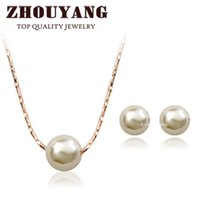Wholesale Ol Set - ZYS358 OL Lady Style Imitation Pearl 18K Rose Gold Plated Jewelry Necklace Earring Set Rhinestone Made with Austrian Crystals